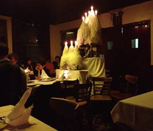The candle in John's of 12th Street was lit to celebrate the end of prohibition.