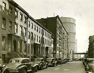 A rare view of one of the last gasworks in the Gas House District circa 1938., years after Humpty Jackson's reign.