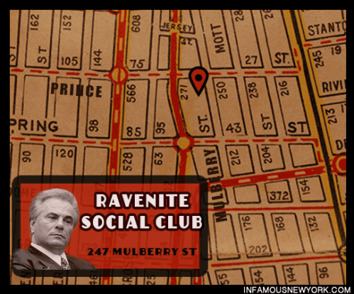 John Gotti used the Ravenite Social Club at 247 Mulberry Street as his headquarters after becoming Gambino Family boss.