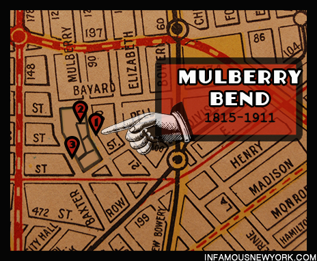 The Mulberry Bend. 1)Ragpicker's Row 50 ½ Mulberry Street 2) Bandits Roost 59 ½ Mulberry Street. 3) Bottle Alley 47 Baxter Street.
