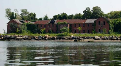 Ruins on Hart Island, a NYC prison and potter's field.