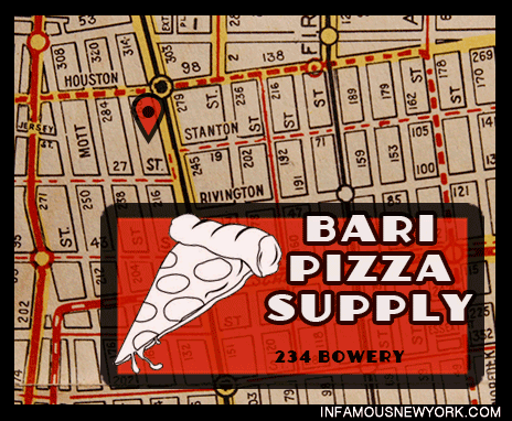The Commission meeting was held at Bari, a pizza equipment shop in the heart of the Lower East Side.