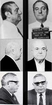 Mafia Commission members present at the meeting at Bari. Top to bottom: Big Paul Castellano, Fat Tony Salerno, Tony Ducks Corallo,