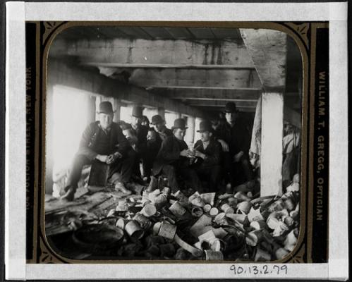 The Short Tail Gang (Corlears Hook) under pier at foot of Jackson Street, now Corlears Hook Park. (Image via the Museum of The City of New York)